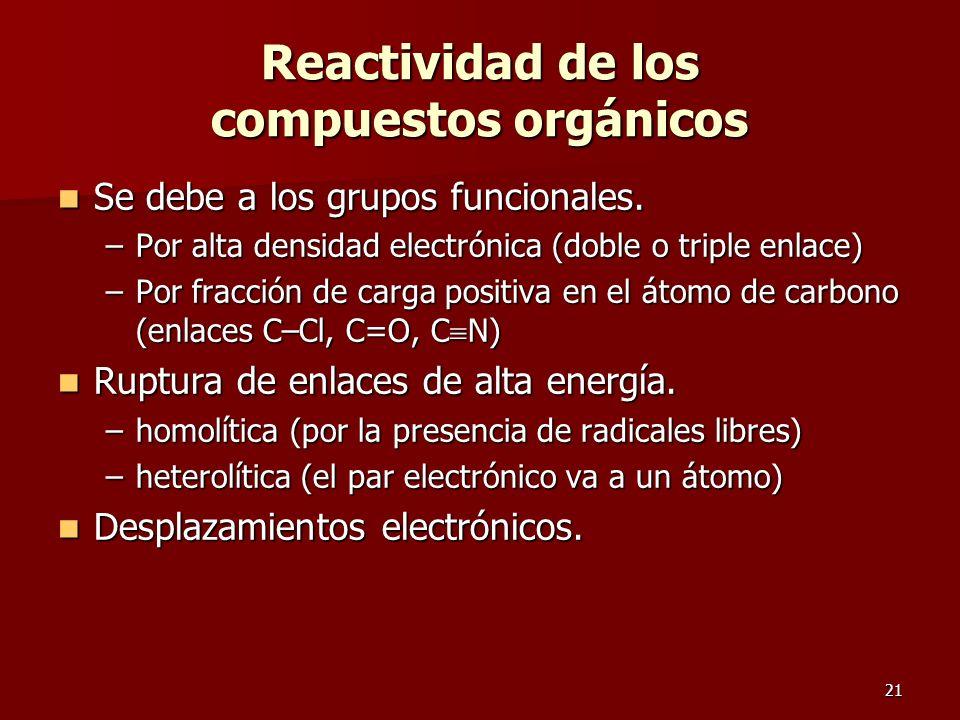 21 Reactividad de los compuestos orgánicos Se debe a los grupos funcionales. Se debe a los grupos funcionales. –Por alta densidad electrónica (doble o