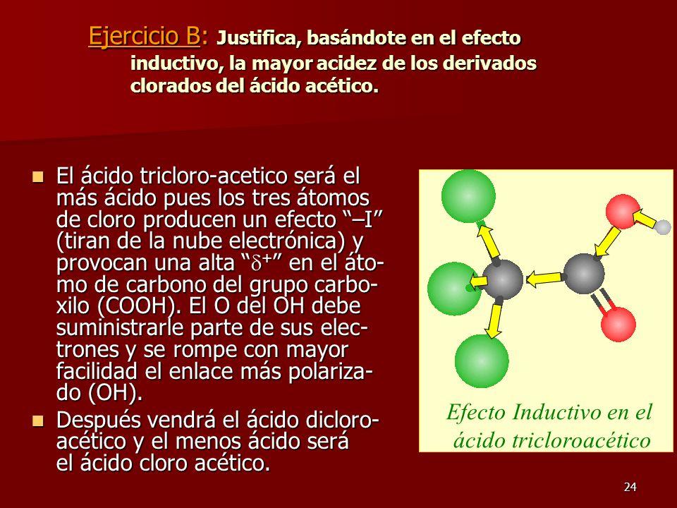 24 Ejercicio B: Justifica, basándote en el efecto inductivo, la mayor acidez de los derivados clorados del ácido acético. El ácido tricloro-acetico se