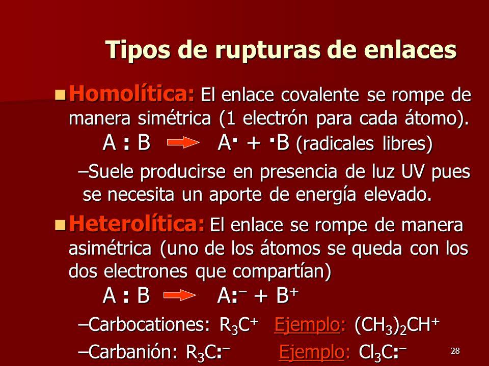 28 Tipos de rupturas de enlaces Homolítica: El enlace covalente se rompe de manera simétrica (1 electrón para cada átomo). A : B A· + ·B (radicales li