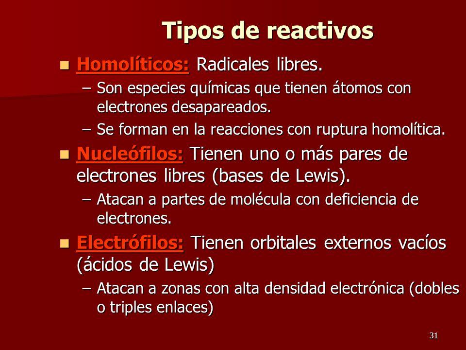 31 Tipos de reactivos Homolíticos: Radicales libres. Homolíticos: Radicales libres. –Son especies químicas que tienen átomos con electrones desaparead