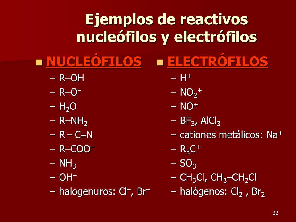 32 Ejemplos de reactivos nucleófilos y electrófilos NUCLEÓFILOS NUCLEÓFILOS –R–OH –R–O – –H2O–H2O–H2O–H2O –R–NH 2 –R – C N –R–COO – –NH 3 –OH – –halog