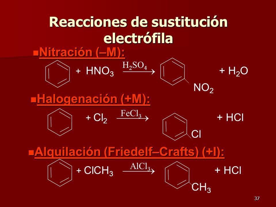 37 Reacciones de sustitución electrófila n Nitración (–M): + HNO 3 + H 2 O NO 2 H 2 SO 4 n Halogenación (+M): + Cl 2 + HCl Cl FeCl 3 n Alquilación (Fr