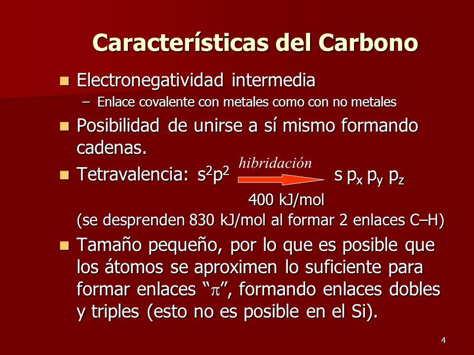 4 Características del Carbono Electronegatividad intermedia Electronegatividad intermedia –Enlace covalente con metales como con no metales Posibilida
