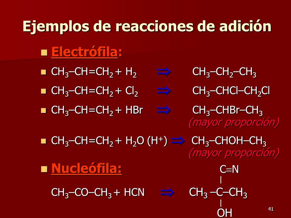 41 Ejemplos de reacciones de adición Electrófila: Electrófila: CH 3 –CH=CH 2 + H 2 CH 3 –CH 2 –CH 3 CH 3 –CH=CH 2 + H 2 CH 3 –CH 2 –CH 3 CH 3 –CH=CH 2