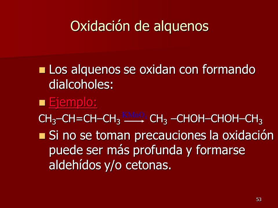 53 Oxidación de alquenos Los alquenos se oxidan con formando dialcoholes: Los alquenos se oxidan con formando dialcoholes: Ejemplo: Ejemplo: CH 3 –CH=