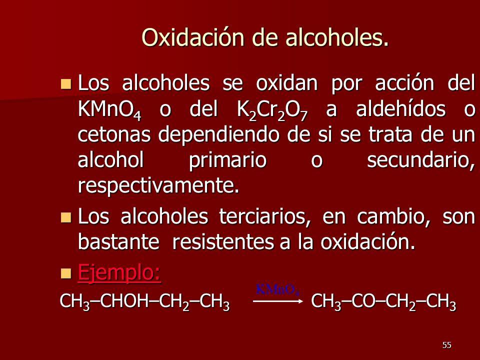 55 Oxidación de alcoholes. Los alcoholes se oxidan por acción del KMnO 4 o del K 2 Cr 2 O 7 a aldehídos o cetonas dependiendo de si se trata de un alc