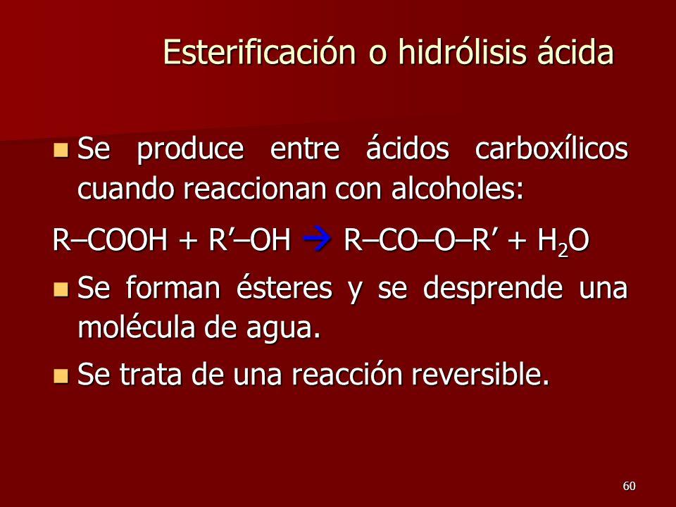 60 Esterificación o hidrólisis ácida Se produce entre ácidos carboxílicos cuando reaccionan con alcoholes: Se produce entre ácidos carboxílicos cuando