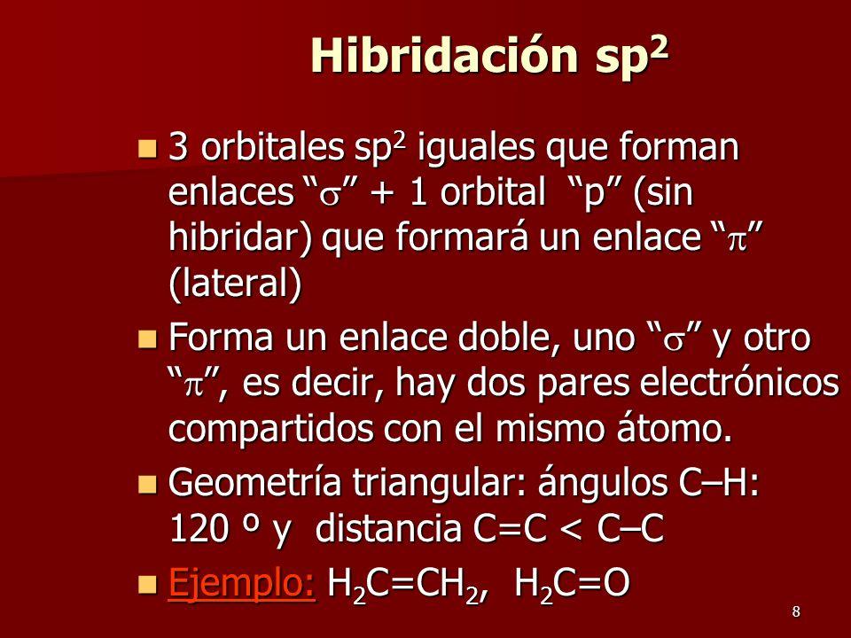 8 Hibridación sp 2 3 orbitales sp 2 iguales que forman enlaces + 1 orbital p (sin hibridar) que formará un enlace (lateral) 3 orbitales sp 2 iguales q