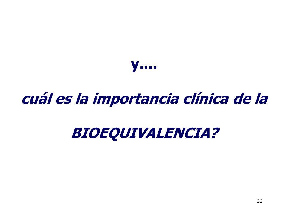 22 y.... cuál es la importancia clínica de la BIOEQUIVALENCIA?