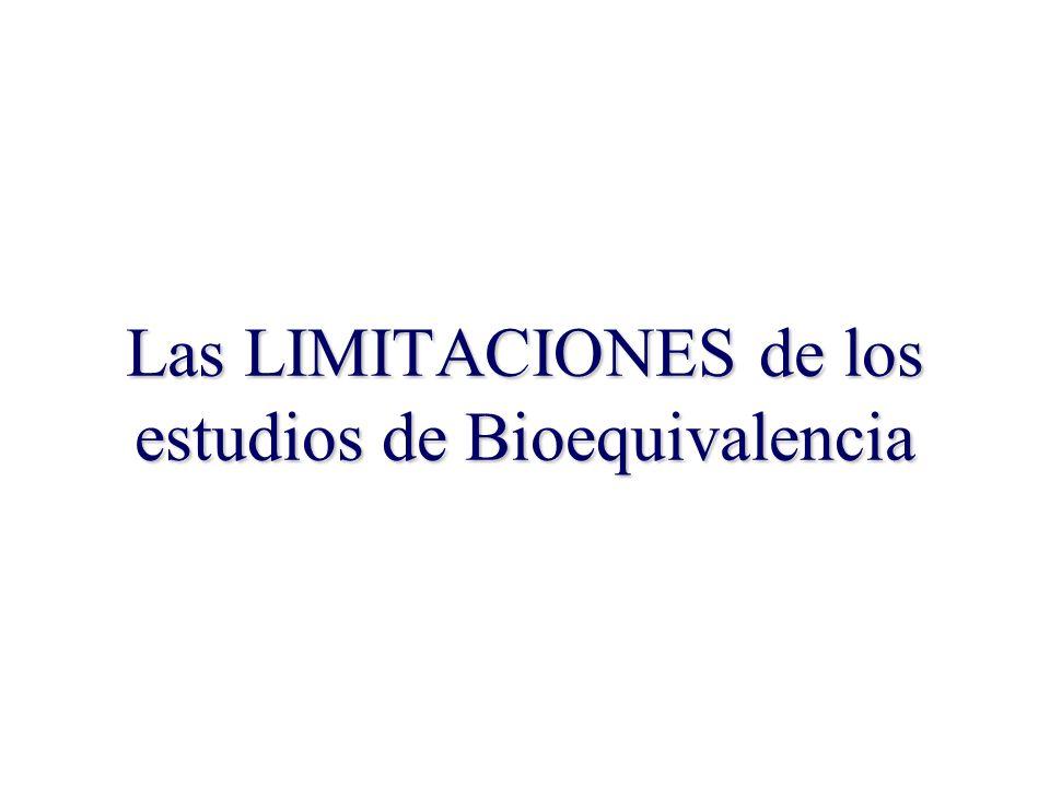29 Las LIMITACIONES de los estudios de Bioequivalencia