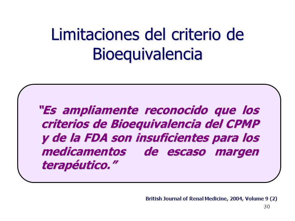 30 Limitaciones del criterio de Bioequivalencia Es ampliamente reconocido que los criterios de Bioequivalencia del CPMP y de la FDA son insuficientes