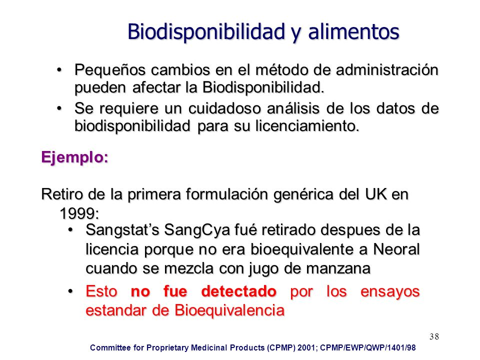 38 Biodisponibilidad y alimentos Pequeños cambios en el método de administración pueden afectar la Biodisponibilidad.Pequeños cambios en el método de