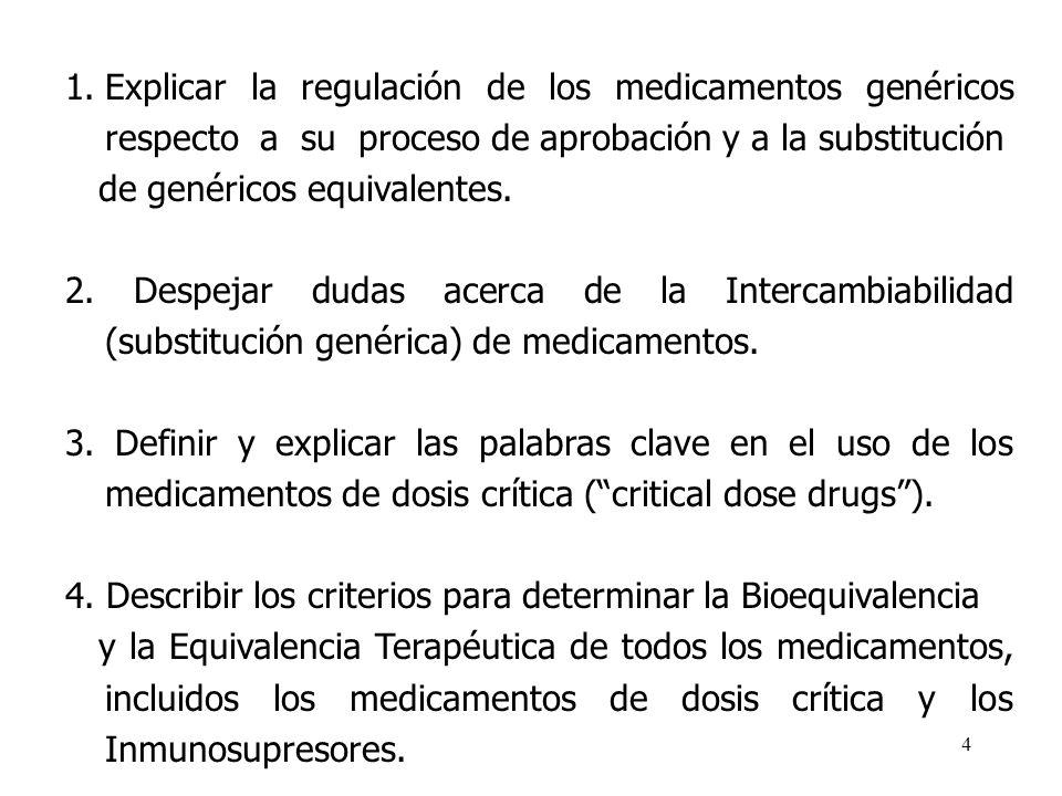 4 1.Explicar la regulación de los medicamentos genéricos respecto a su proceso de aprobación y a la substitución de genéricos equivalentes. 2. Despeja