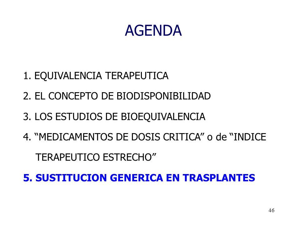 46 AGENDA 1.EQUIVALENCIA TERAPEUTICA 2. EL CONCEPTO DE BIODISPONIBILIDAD 3. LOS ESTUDIOS DE BIOEQUIVALENCIA 4. MEDICAMENTOS DE DOSIS CRITICA o de INDI