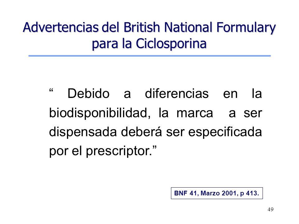 49 Advertencias del British National Formulary para la Ciclosporina Debido a diferencias en la biodisponibilidad, la marca a ser dispensada deberá ser
