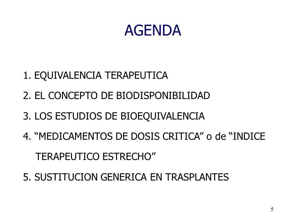 5 AGENDA 1.EQUIVALENCIA TERAPEUTICA 2. EL CONCEPTO DE BIODISPONIBILIDAD 3. LOS ESTUDIOS DE BIOEQUIVALENCIA 4. MEDICAMENTOS DE DOSIS CRITICA o de INDIC