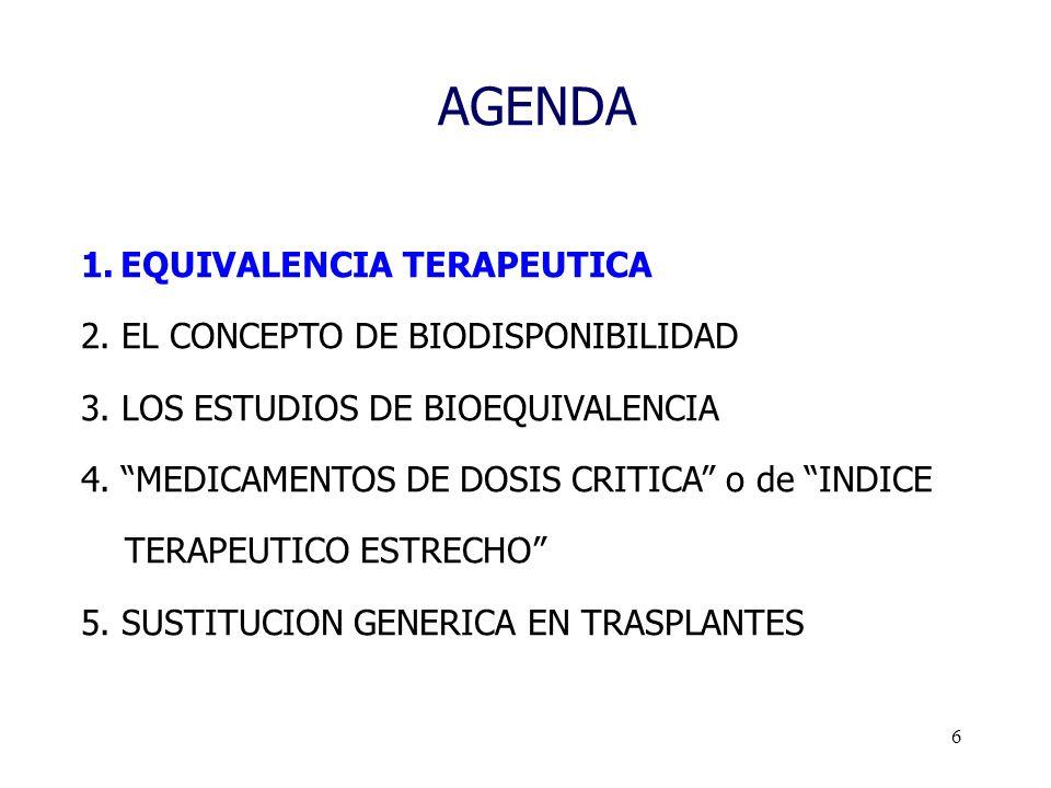 6 AGENDA 1.EQUIVALENCIA TERAPEUTICA 2. EL CONCEPTO DE BIODISPONIBILIDAD 3. LOS ESTUDIOS DE BIOEQUIVALENCIA 4. MEDICAMENTOS DE DOSIS CRITICA o de INDIC