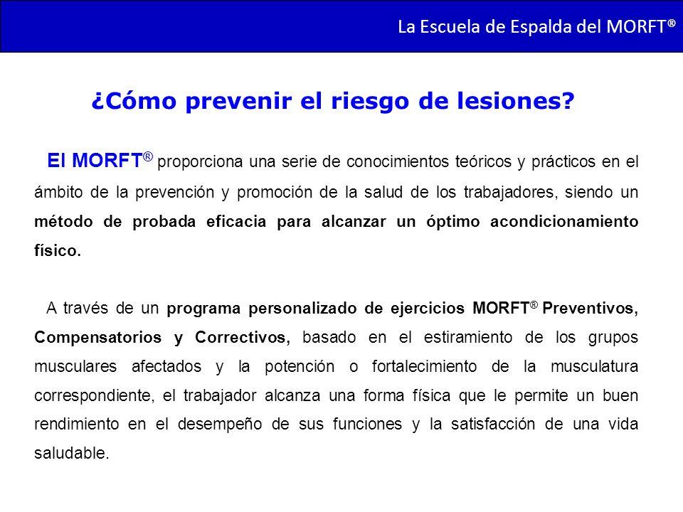 TRANSMORFT – Agosto de 2011 La Escuela de Espalda del MORFT® ¿Cómo prevenir el riesgo de lesiones? El MORFT ® proporciona una serie de conocimientos t