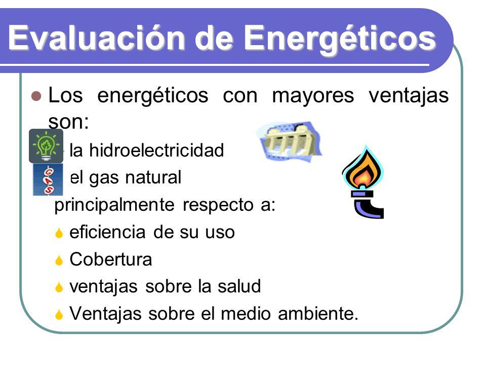 Evaluación de Energéticos Los energéticos con mayores ventajas son: la hidroelectricidad el gas natural principalmente respecto a: eficiencia de su uso Cobertura ventajas sobre la salud Ventajas sobre el medio ambiente.