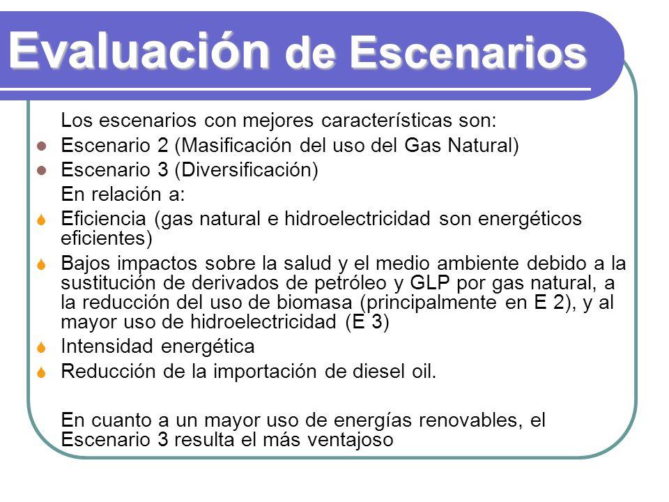 Evaluación de Escenarios Los escenarios con mejores características son: Escenario 2 (Masificación del uso del Gas Natural) Escenario 3 (Diversificación) En relación a: Eficiencia (gas natural e hidroelectricidad son energéticos eficientes) Bajos impactos sobre la salud y el medio ambiente debido a la sustitución de derivados de petróleo y GLP por gas natural, a la reducción del uso de biomasa (principalmente en E 2), y al mayor uso de hidroelectricidad (E 3) Intensidad energética Reducción de la importación de diesel oil.
