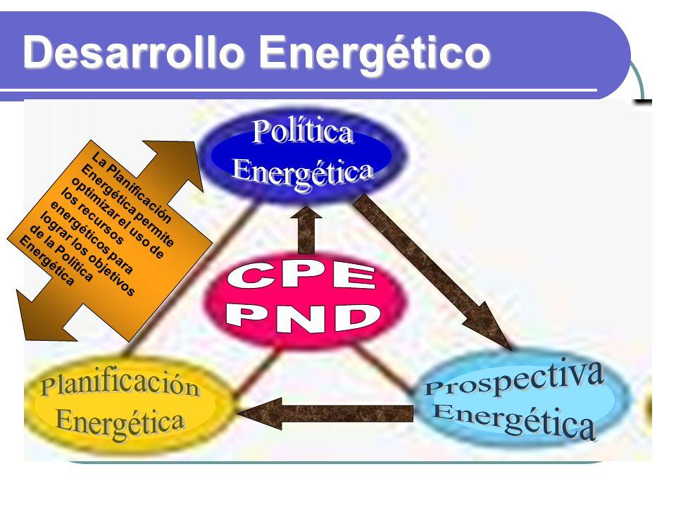 Desarrollo Energético La Planificación Energética permite optimizar el uso de los recursos energéticos para lograr los objetivos de la Política Energética