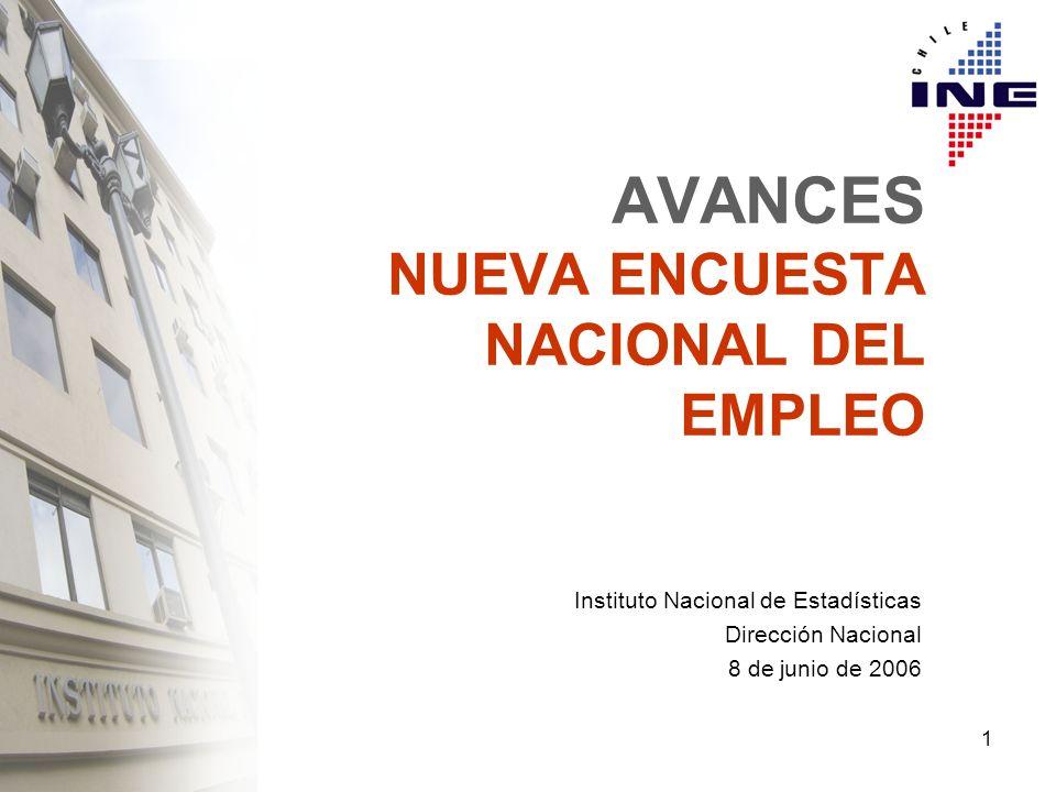 1 AVANCES NUEVA ENCUESTA NACIONAL DEL EMPLEO Instituto Nacional de Estadísticas Dirección Nacional 8 de junio de 2006