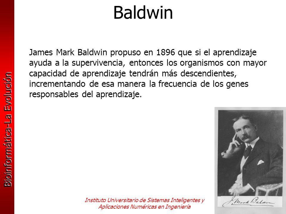 Bioinformática-La Evolución Instituto Universitario de Sistemas Inteligentes y Aplicaciones Numéricas en Ingeniería James Mark Baldwin propuso en 1896