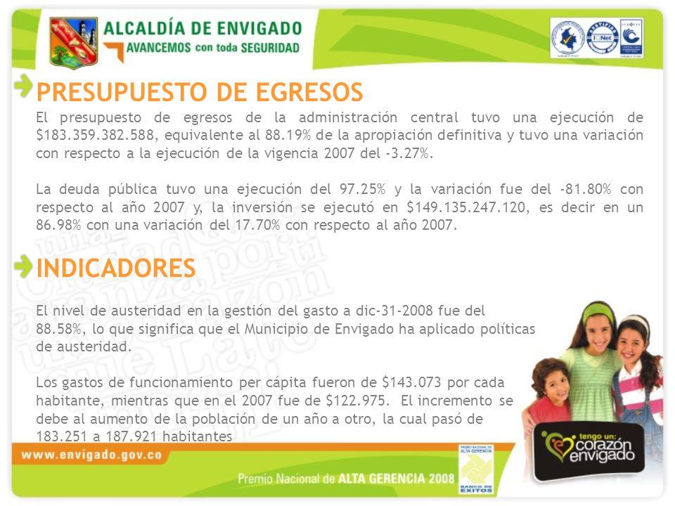 PRESUPUESTO DE EGRESOS El presupuesto de egresos de la administración central tuvo una ejecución de $183.359.382.588, equivalente al 88.19% de la apropiación definitiva y tuvo una variación con respecto a la ejecución de la vigencia 2007 del -3.27%.