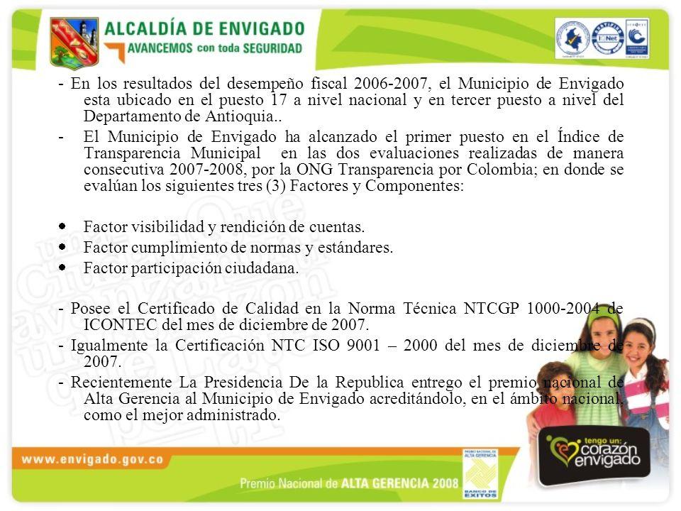 - En los resultados del desempeño fiscal 2006-2007, el Municipio de Envigado esta ubicado en el puesto 17 a nivel nacional y en tercer puesto a nivel del Departamento de Antioquia..