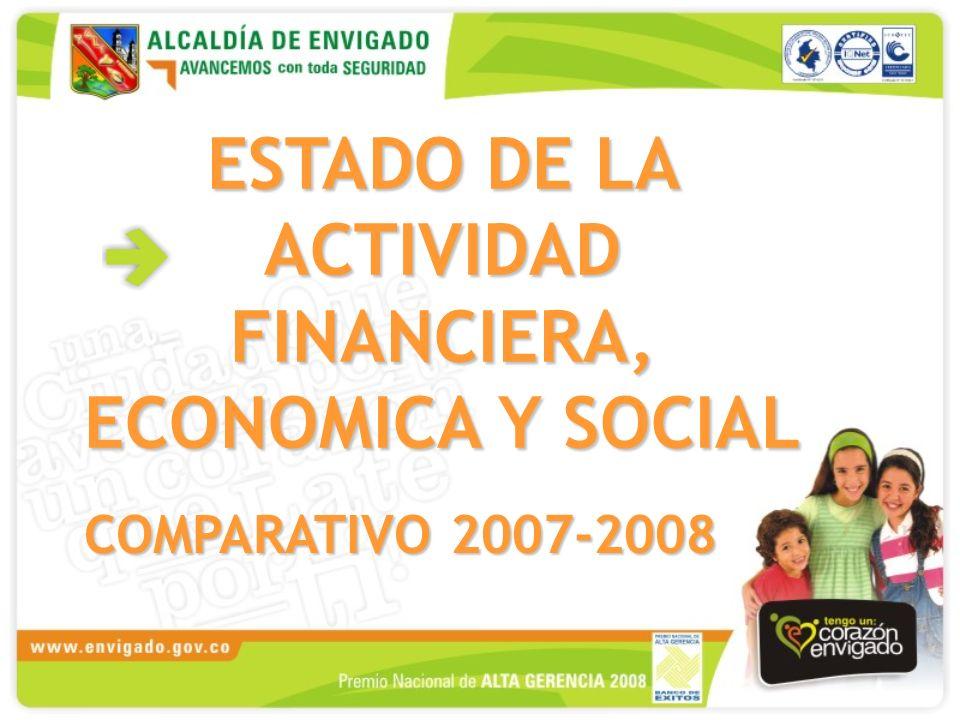 ESTADO DE LA ACTIVIDAD FINANCIERA, ECONOMICA Y SOCIAL COMPARATIVO 2007-2008