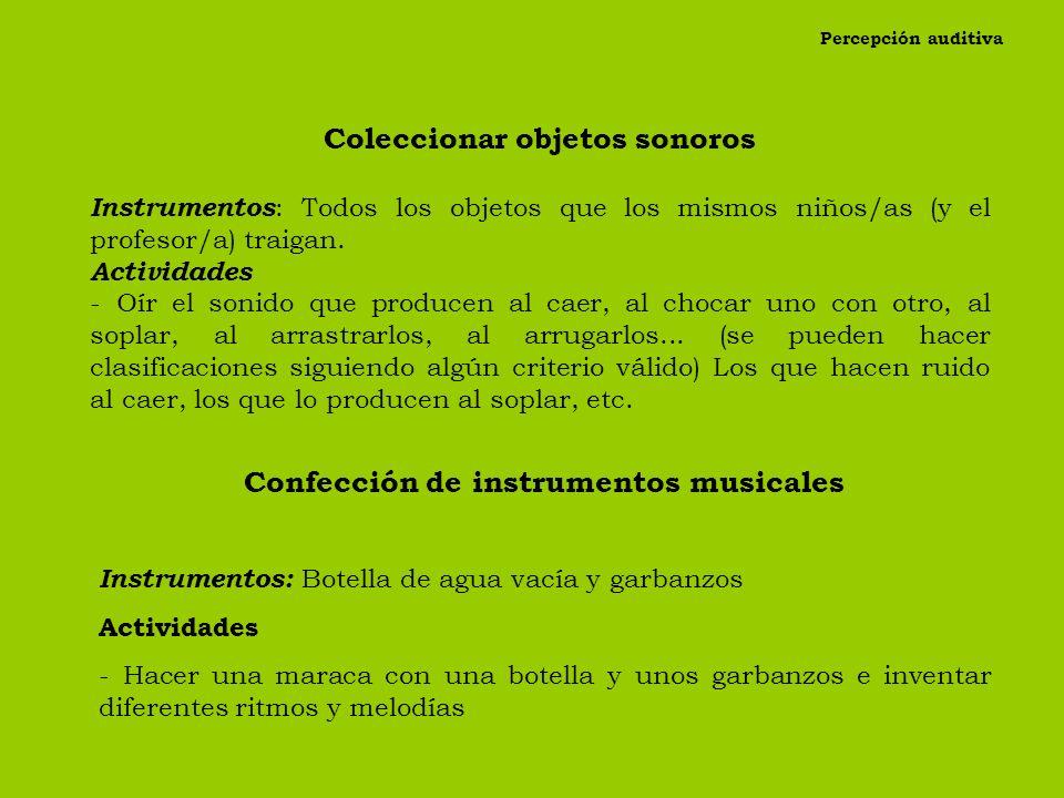Aprender a oír ruidos provocados Instrumentos : lápiz, tiza, dados, tapadera, arena. Actividades -Profesor/a y niños/as sentados en torno a la mesa. L