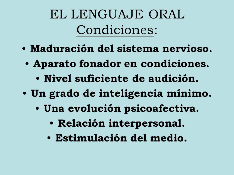 EL LENGUAJE ORAL Condiciones: Maduración del sistema nervioso.