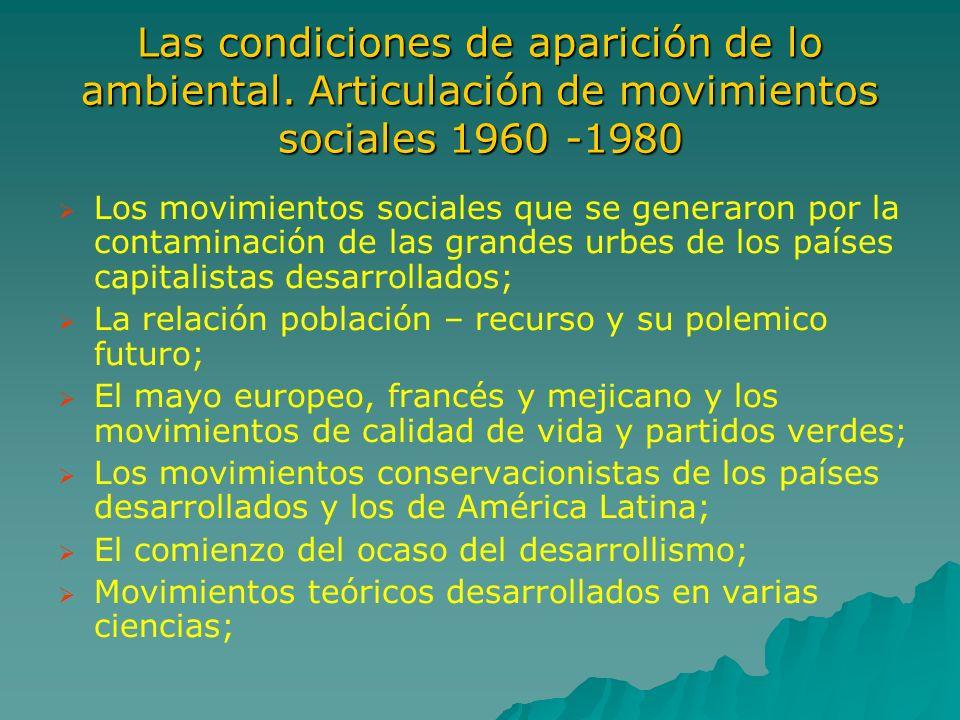 Las condiciones de aparición de lo ambiental. Articulación de movimientos sociales 1960 -1980 Los movimientos sociales que se generaron por la contami