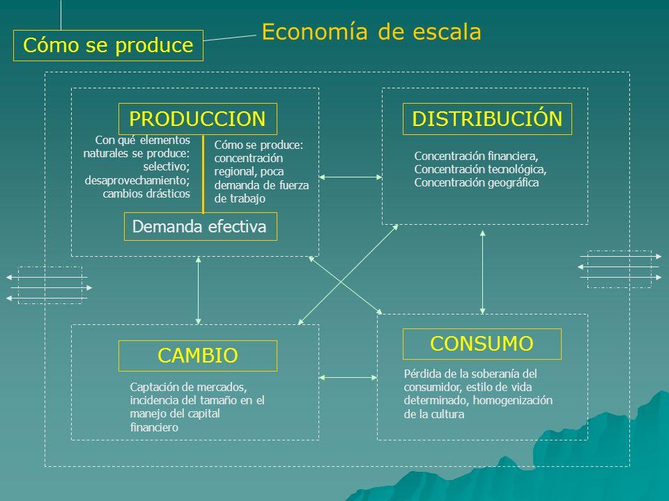 Economía de escala PRODUCCION Demanda efectiva Con qué elementos naturales se produce: selectivo; desaprovechamiento; cambios drásticos Cómo se produc