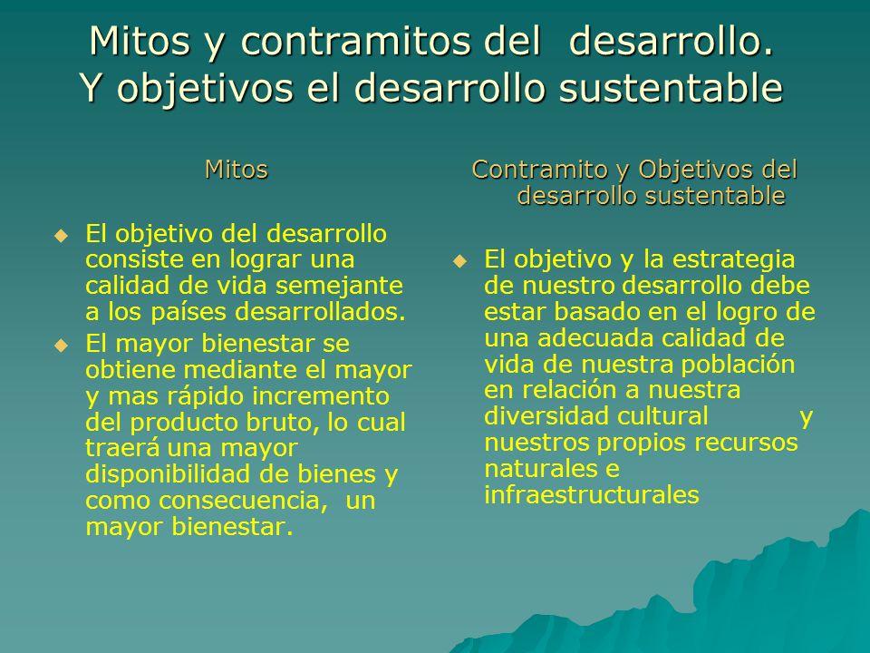 Mitos y contramitos del desarrollo. Y objetivos el desarrollo sustentable Mitos El objetivo del desarrollo consiste en lograr una calidad de vida seme