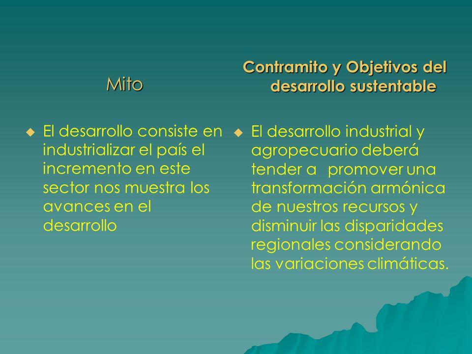 Mito El desarrollo consiste en industrializar el país el incremento en este sector nos muestra los avances en el desarrollo Contramito y Objetivos del