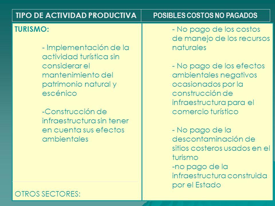 TIPO DE ACTIVIDAD PRODUCTIVA POSIBLES COSTOS NO PAGADOS - No pago de los costos de manejo de los recursos naturales - No pago de los efectos ambiental