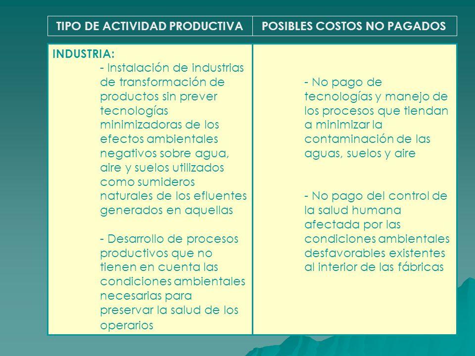 TIPO DE ACTIVIDAD PRODUCTIVAPOSIBLES COSTOS NO PAGADOS INDUSTRIA: - Instalación de industrias de transformación de productos sin prever tecnologías mi