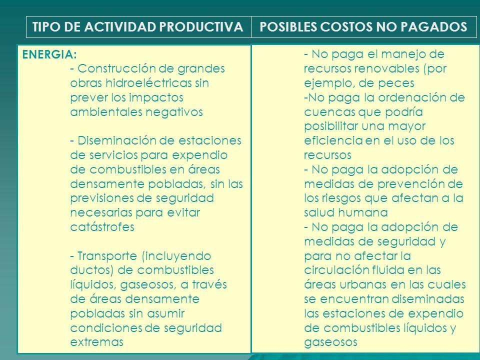 TIPO DE ACTIVIDAD PRODUCTIVAPOSIBLES COSTOS NO PAGADOS ENERGIA: - Construcción de grandes obras hidroeléctricas sin prever los impactos ambientales ne
