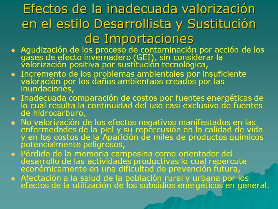 Efectos de la inadecuada valorización en el estilo Desarrollista y Sustitución de Importaciones Agudización de los proceso de contaminación por acción
