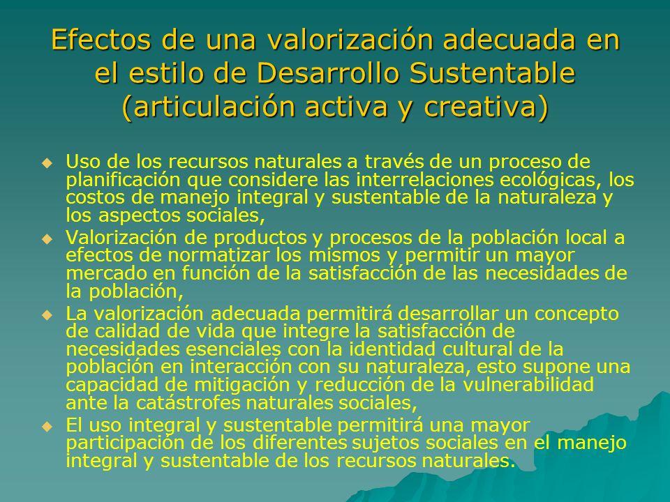Efectos de una valorización adecuada en el estilo de Desarrollo Sustentable (articulación activa y creativa) Uso de los recursos naturales a través de