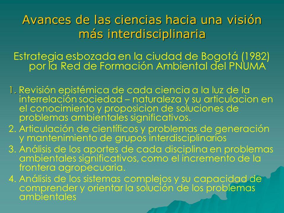 Avances de las ciencias hacia una visión más interdisciplinaria Estrategia esbozada en la ciudad de Bogotá (1982) por la Red de Formación Ambiental de
