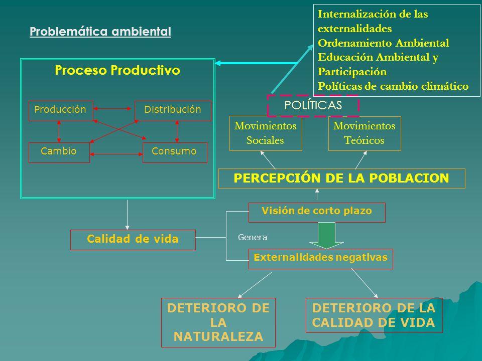 Problemática ambiental Proceso Productivo ProducciónDistribución CambioConsumo Visión de corto plazo Externalidades negativas Calidad de vida Genera D