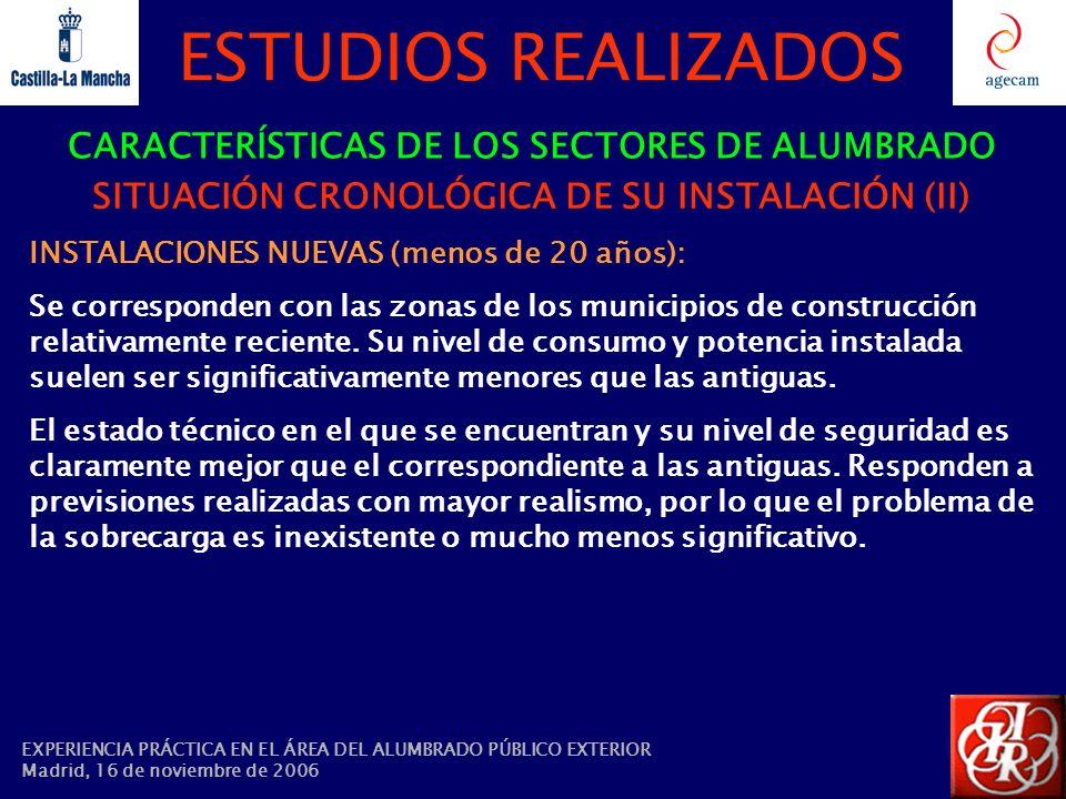 ESTUDIOS REALIZADOS CARACTERÍSTICAS DE LOS SECTORES DE ALUMBRADO SITUACIÓN CRONOLÓGICA DE SU INSTALACIÓN (II) INSTALACIONES NUEVAS (menos de 20 años):