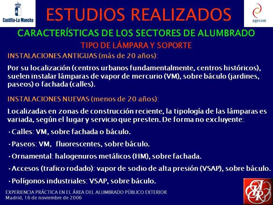 ESTUDIOS REALIZADOS CARACTERÍSTICAS DE LOS SECTORES DE ALUMBRADO TIPO DE LÁMPARA Y SOPORTE INSTALACIONES ANTIGUAS (más de 20 años): Por su localizació