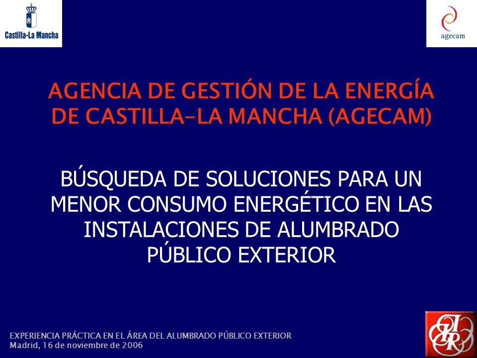 EXPERIENCIA PRÁCTICA EN EL ÁREA DEL ALUMBRADO PÚBLICO EXTERIOR Madrid, 16 de noviembre de 2006 AGENCIA DE GESTIÓN DE LA ENERGÍA DE CASTILLA-LA MANCHA