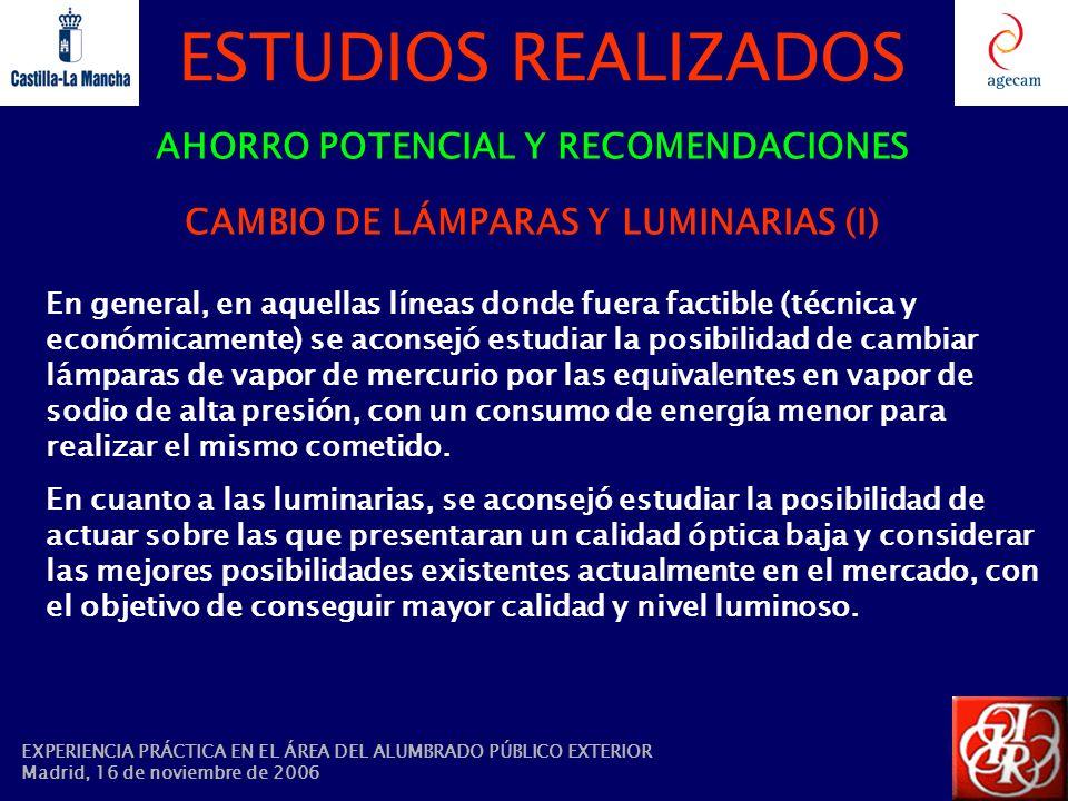 ESTUDIOS REALIZADOS AHORRO POTENCIAL Y RECOMENDACIONES CAMBIO DE LÁMPARAS Y LUMINARIAS (I) En general, en aquellas líneas donde fuera factible (técnic