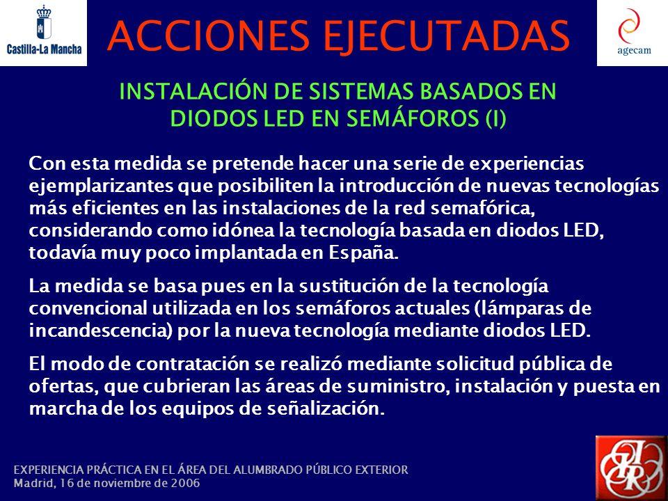 ACCIONES EJECUTADAS INSTALACIÓN DE SISTEMAS BASADOS EN DIODOS LED EN SEMÁFOROS (I) Con esta medida se pretende hacer una serie de experiencias ejempla