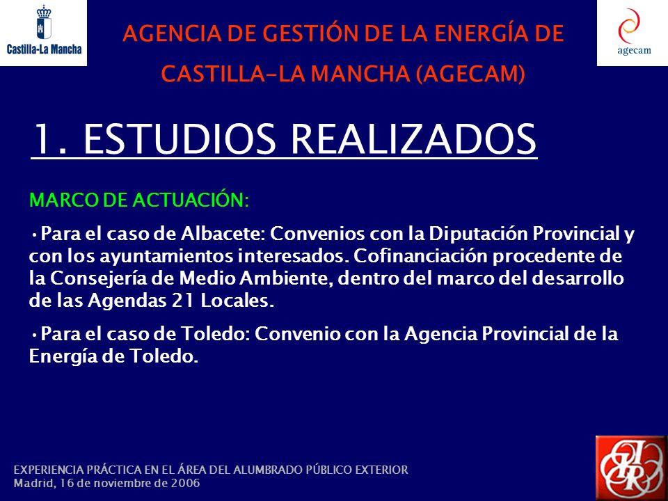 1. ESTUDIOS REALIZADOS MARCO DE ACTUACIÓN: Para el caso de Albacete: Convenios con la Diputación Provincial y con los ayuntamientos interesados. Cofin