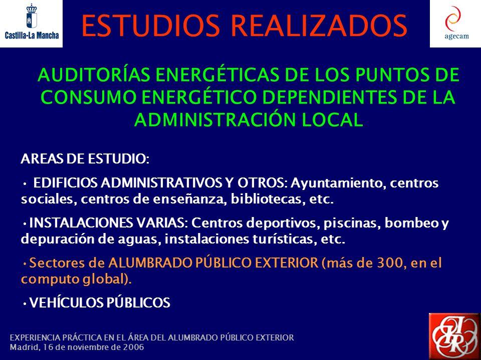 ESTUDIOS REALIZADOS AUDITORÍAS ENERGÉTICAS DE LOS PUNTOS DE CONSUMO ENERGÉTICO DEPENDIENTES DE LA ADMINISTRACIÓN LOCAL AREAS DE ESTUDIO: EDIFICIOS ADM